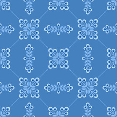 Seamless floral pattern with geometric flowers