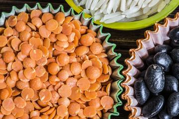 cibo e lenticchie rosse