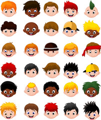 Set of cartoon boy children head