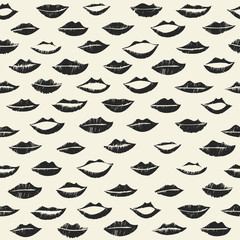 Seamless pattern with black lips. Kissing background.