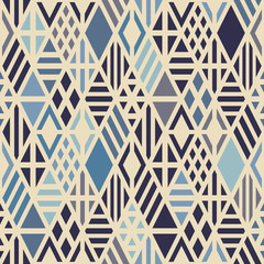 Geometric seamless pattern with rhombuses in blue colors.