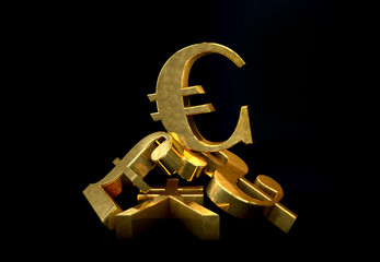 euro symbol rising over a pile of Pound,US Dollar,Yen.