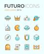 Постер, плакат: Indie gaming futuro line icons