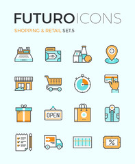 Shopping and retail futuro line icons