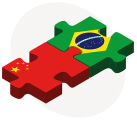 China and Brazil Flags in puzzle