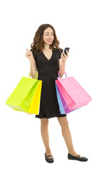 Shopping woman with her smart phone