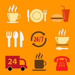 Набор векторных иконок с едой