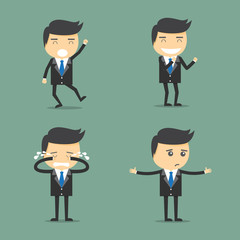 Concept of businessman worker expressing feeling and emotion.