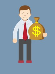 Businessman or banker with a Bag of Gold Cash Dollar. Vector