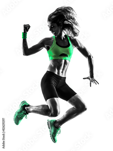 woman fitness jumping  exercises silhouette - 82629297