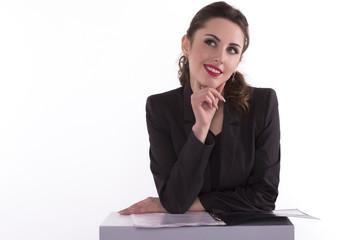 Happy businesswoman looking away