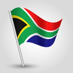 vector waving triangle african flag on stick - South Africa