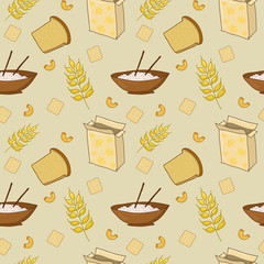 Seamless pattern with bread