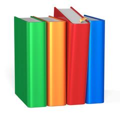 Selecting book take from bookshelf four books row choosing