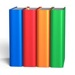 Books blank educational four textbook bookshelf colorful