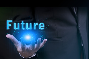 businessman holding future in his hand.success in business