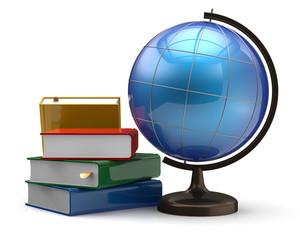 Globe and books blank global international geography symbol