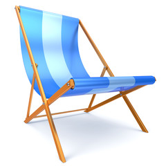 Beach chair blue chaise longue nobody relaxation abstract