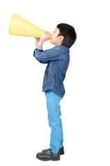 Little boy shouting on white background