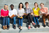 Group of university students studying