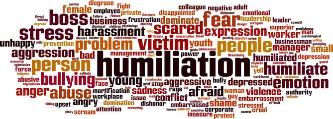 Humiliation word cloud concept. Vector illustration