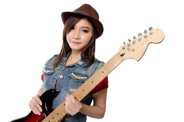 Beautiful punk rock girl with her guitar, on white background