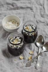 chocolate pudding with meringue and nuts