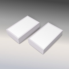 White product cardboards with clean label, package boxes mockup.