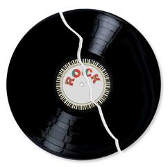 A broken LP vinyl record