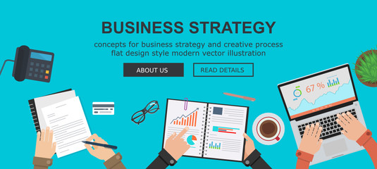 Business strategy and creative process flat design concepts