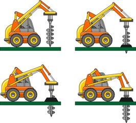 Drilling equipment. Heavy construction machines. Vector
