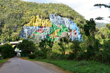 The Mural of prehistory Colorful rock