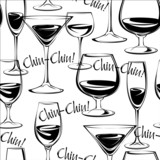 Vector illustration of wine glasses. Seamless pattern.