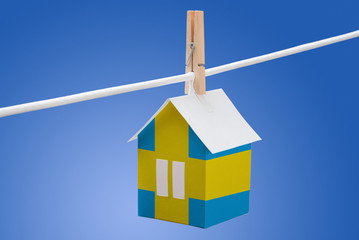 sweden, swedish flag on paper house