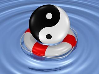 Yin und Yang, Taiji-Symbol im Rettungsring