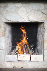 Traditional open fire place