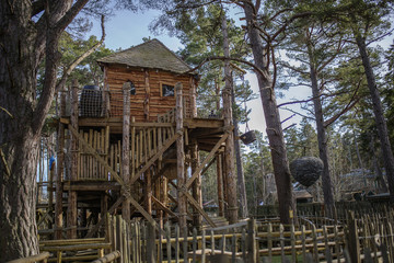 A cool treehouse in a forrest