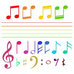 Set of musical notes in color - illustration