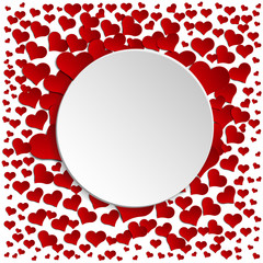 white circle on a background of red hearts