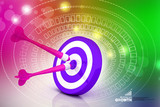 Pink darts on violate target poster
