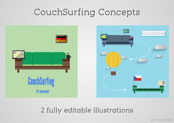 Set of Couch surfing concept. Travel infographic. Share your