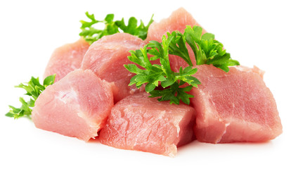 meat with parsley isolated on the white background