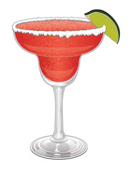 Margarita-Strawberry is a frozen margarita with salt  and lime.