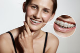 Fototapety prety girl is smiling with braces and lens showing them bigger