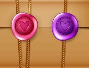 Love letter background with wax seal