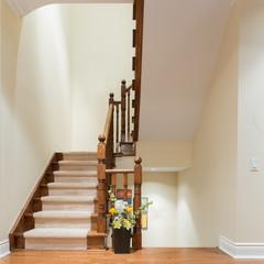 Wooden staircase interior