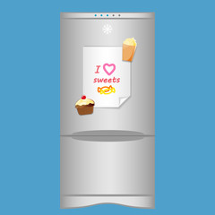 """Icon with refrigerator end blank note """"I love sweets"""" on magnets"""