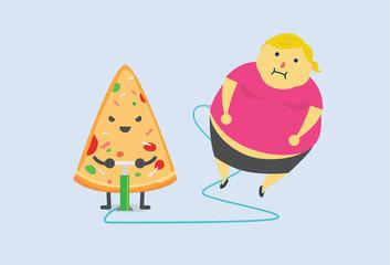 Pizza make man fat fast with air pump