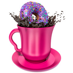 donut falls into the cup with chocolate