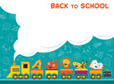 Fototapety Train with Education Characters Back to School
